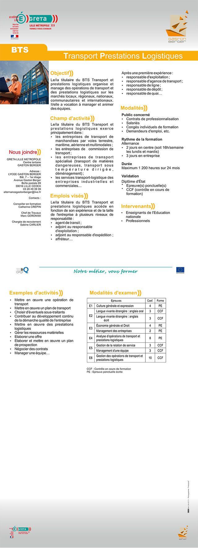 Formation Bts Transport Prestations Logistiques Technicien