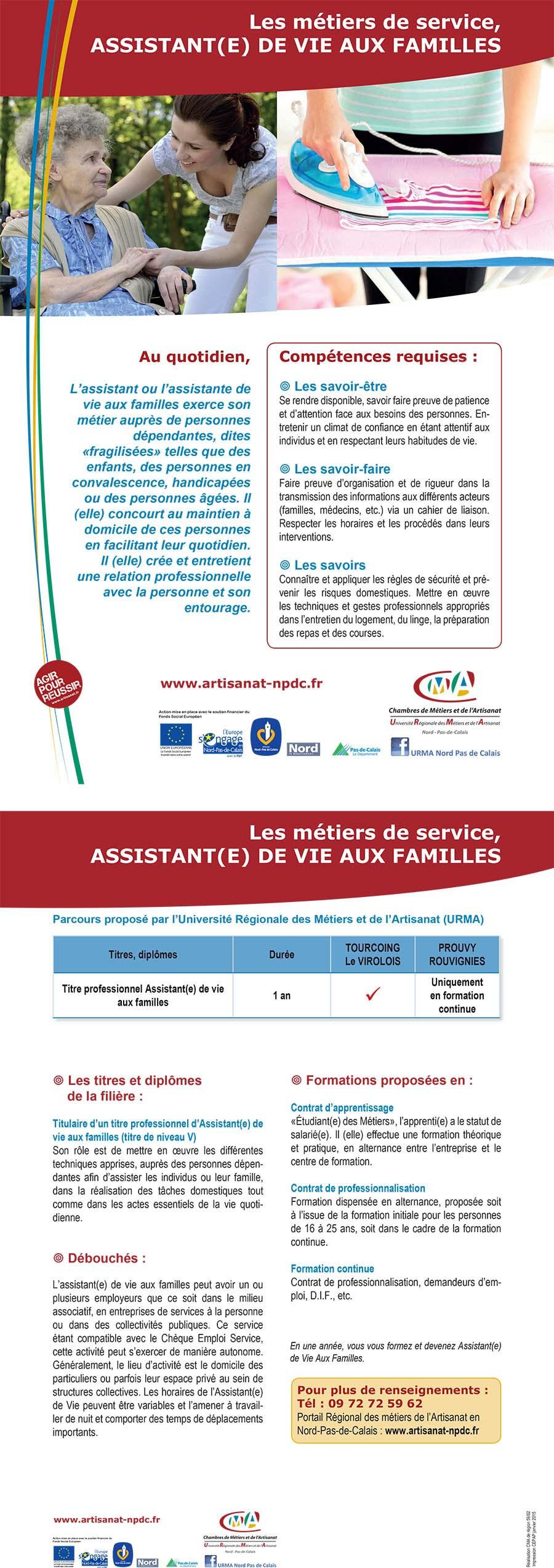 Offre assistant e de vie aux familles contrat de - Contrat d apprentissage chambre des metiers ...