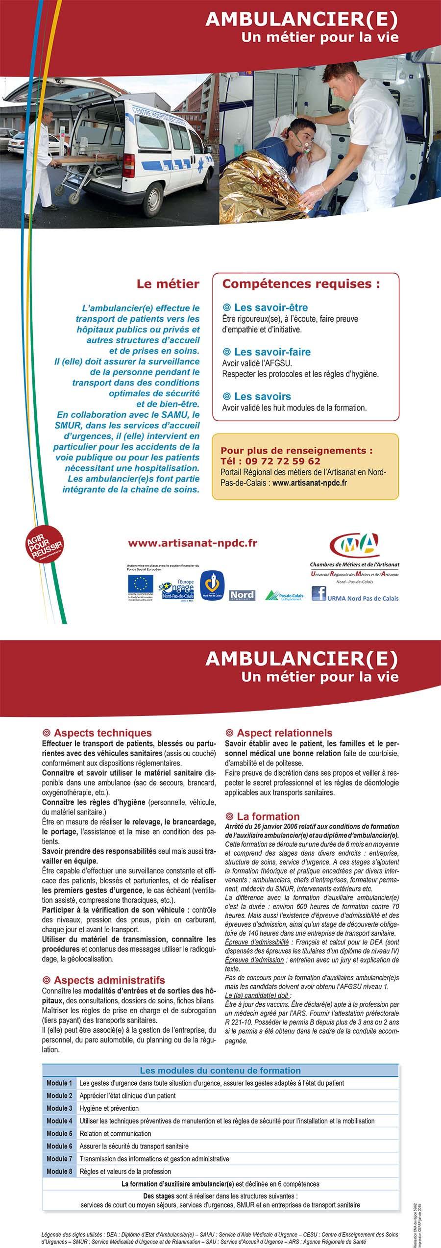 Offre ambulancier h f contrat de professionnalisation - Chambre des metiers et de l artisanat lille ...
