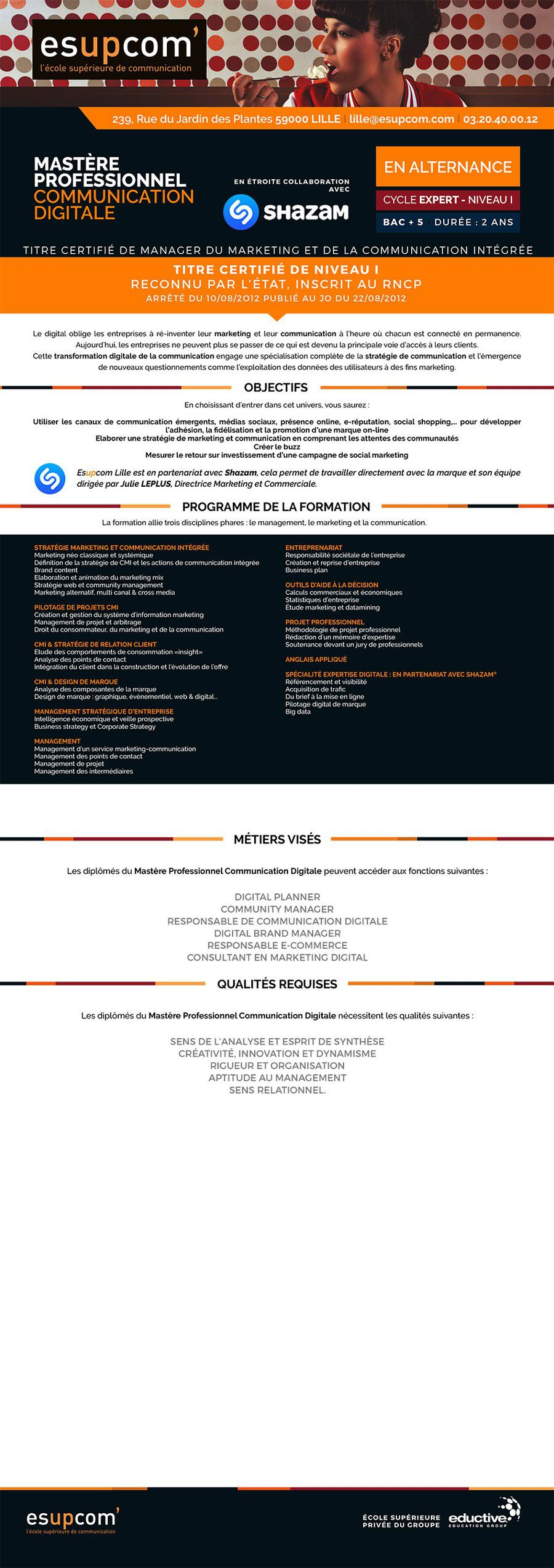 MASTÈRE PROFESSIONNEL COMMUNICATION DIGITALE