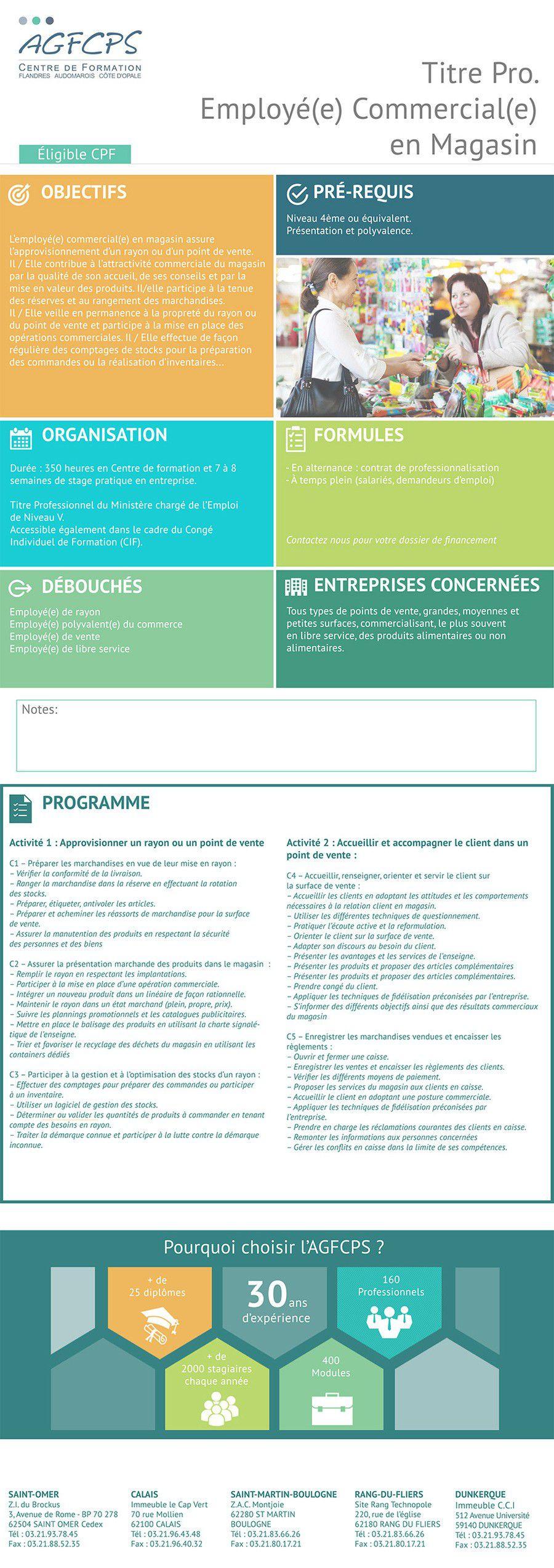 Titre Pro. Employé(e) Commercial(e) en Magasin