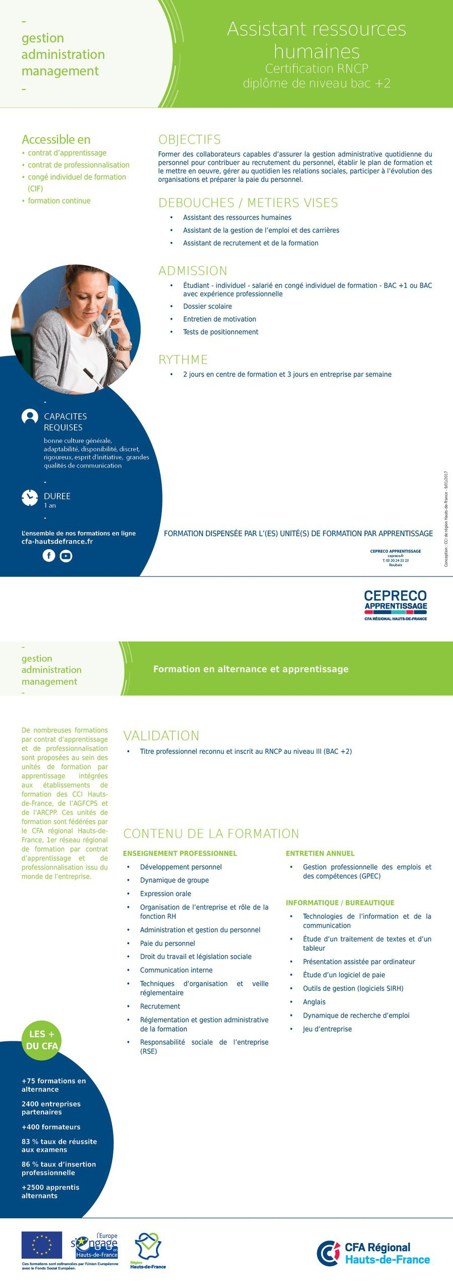 Certification RNCP Niveau BAC +2 Assistant ressources humaines