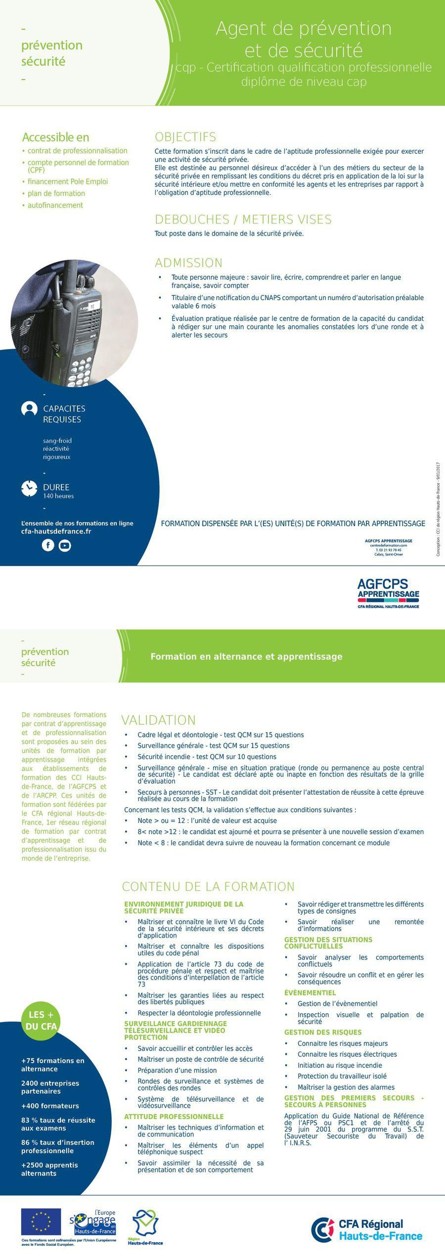 CQP (Contrat de qualification professionnelle) - AGENT DE PRÉVENTION ET DE SÉCURITÉ