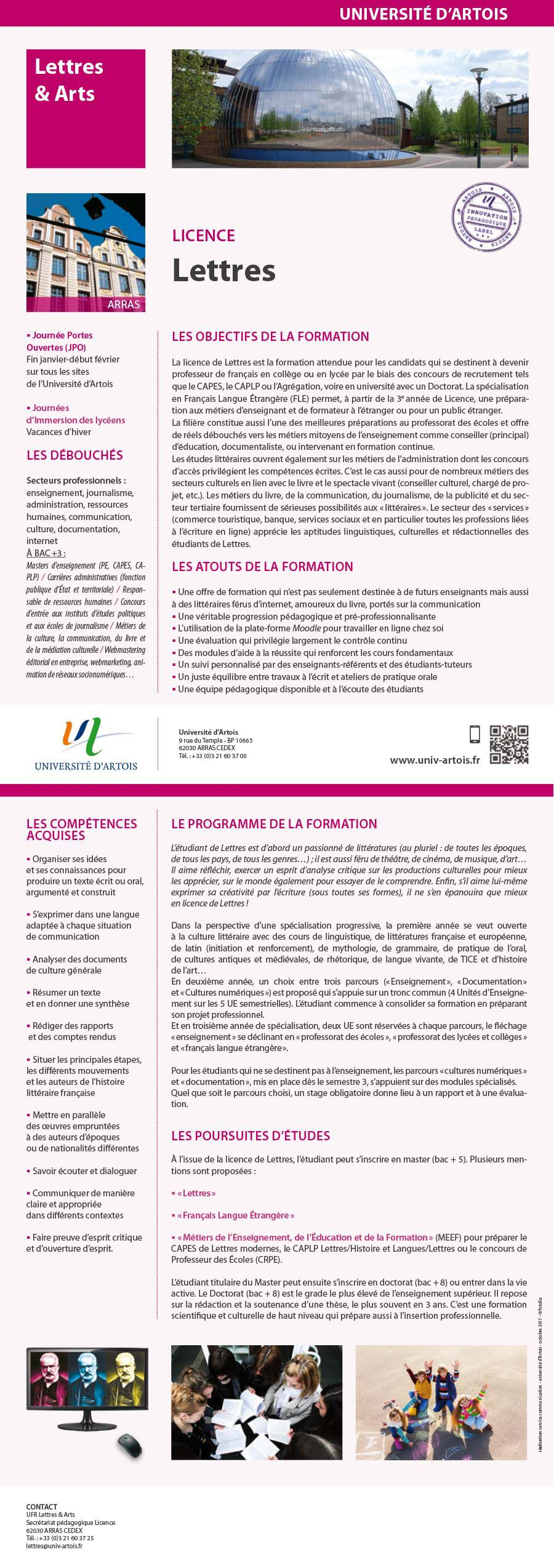 Licence Lettres modernes - Enseignement collège et lycée