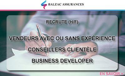 Balzac Assurances recrute des profils commerciaux