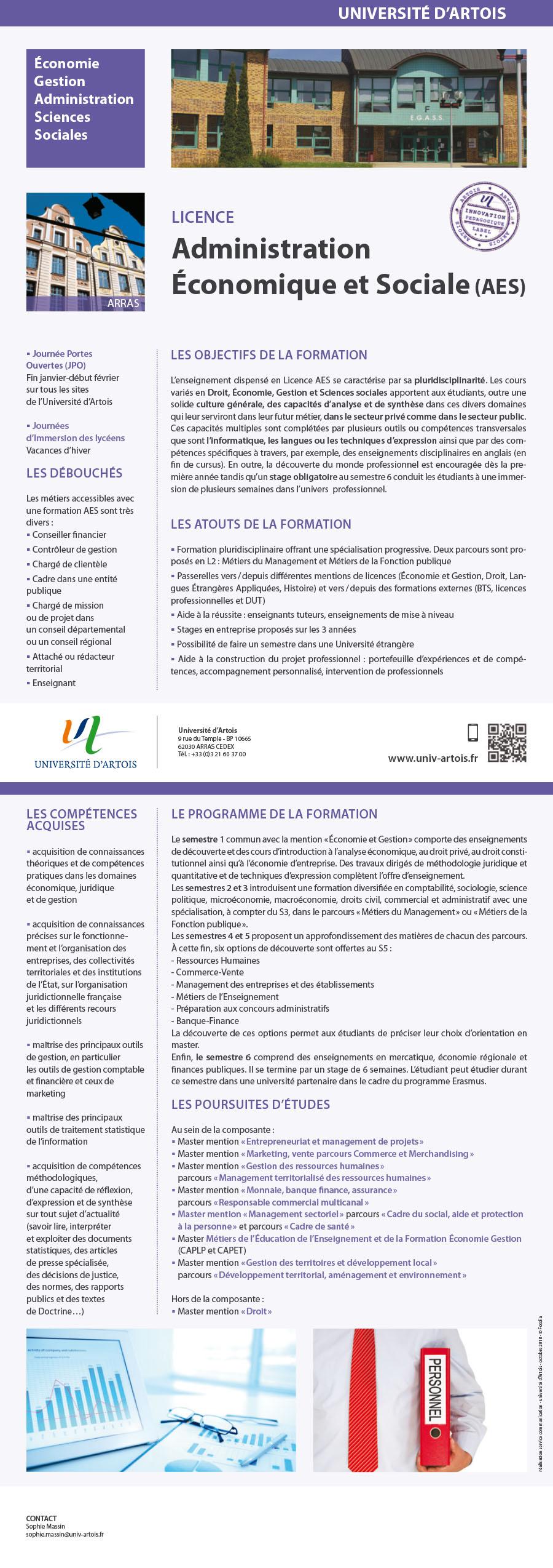 Licence Administration Economique et Sociale parcours Métiers du management